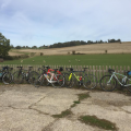 3* Half Day Ride Bikes all locked up at SaddleBack Farm.