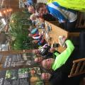 3* riders enjoying hot drinks & cake at Bampton Garden Centre.